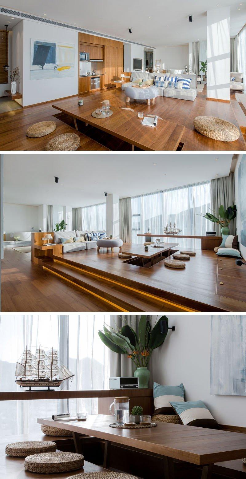 Di Apartemen Ini Platform Lebih Tinggi Diaplikasikan Ruang Keluarga Yang Memiliki Konsep Terbuka Dengan Adanya
